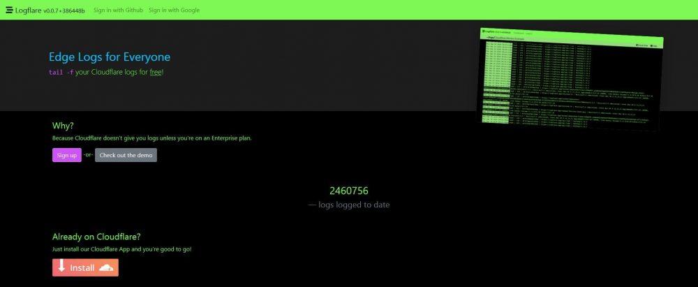 Logflare homepage